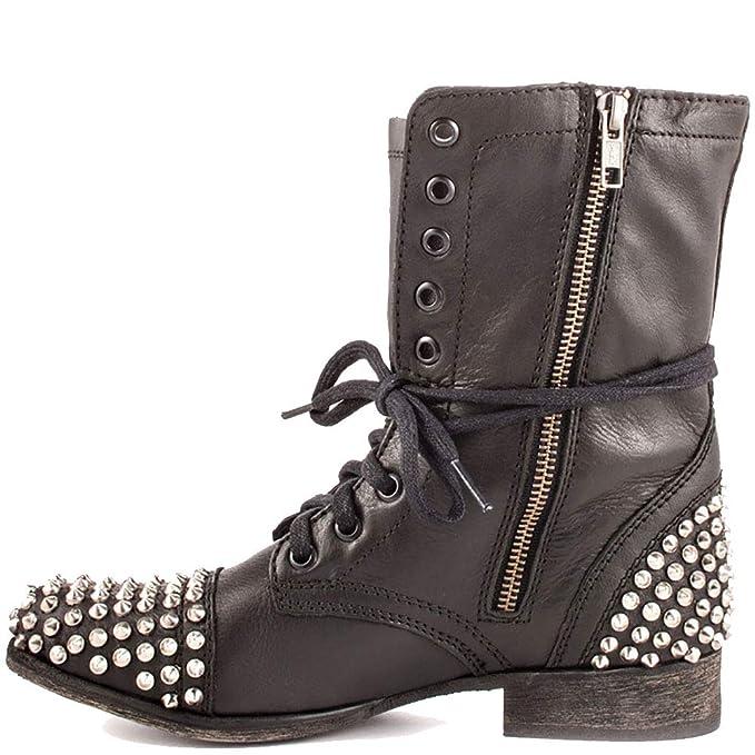 Botas De Mujer Botines Bajos Con Tachuelas De Piel Tacones Zapatos De Piel De Charol Martin: Amazon.es: Ropa y accesorios