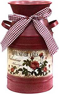 """HIDERLYS 7.5"""" High Rustic Decorative Vase with Flower Pattern and Rope Design, Metal Milk Can Country Jug for Living Room, Bedroom, Kitchen (Red)"""
