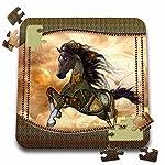 Heike Köhnen Design Steampunk - Steampunk, wonderful steampunk horse, golden design - 10x10 Inch Puzzle (pzl_262393_2) 5