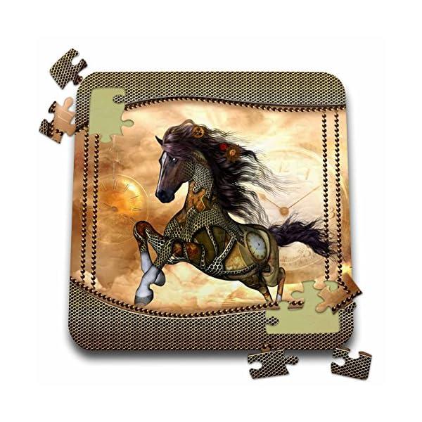 Heike Köhnen Design Steampunk - Steampunk, wonderful steampunk horse, golden design - 10x10 Inch Puzzle (pzl_262393_2) 3