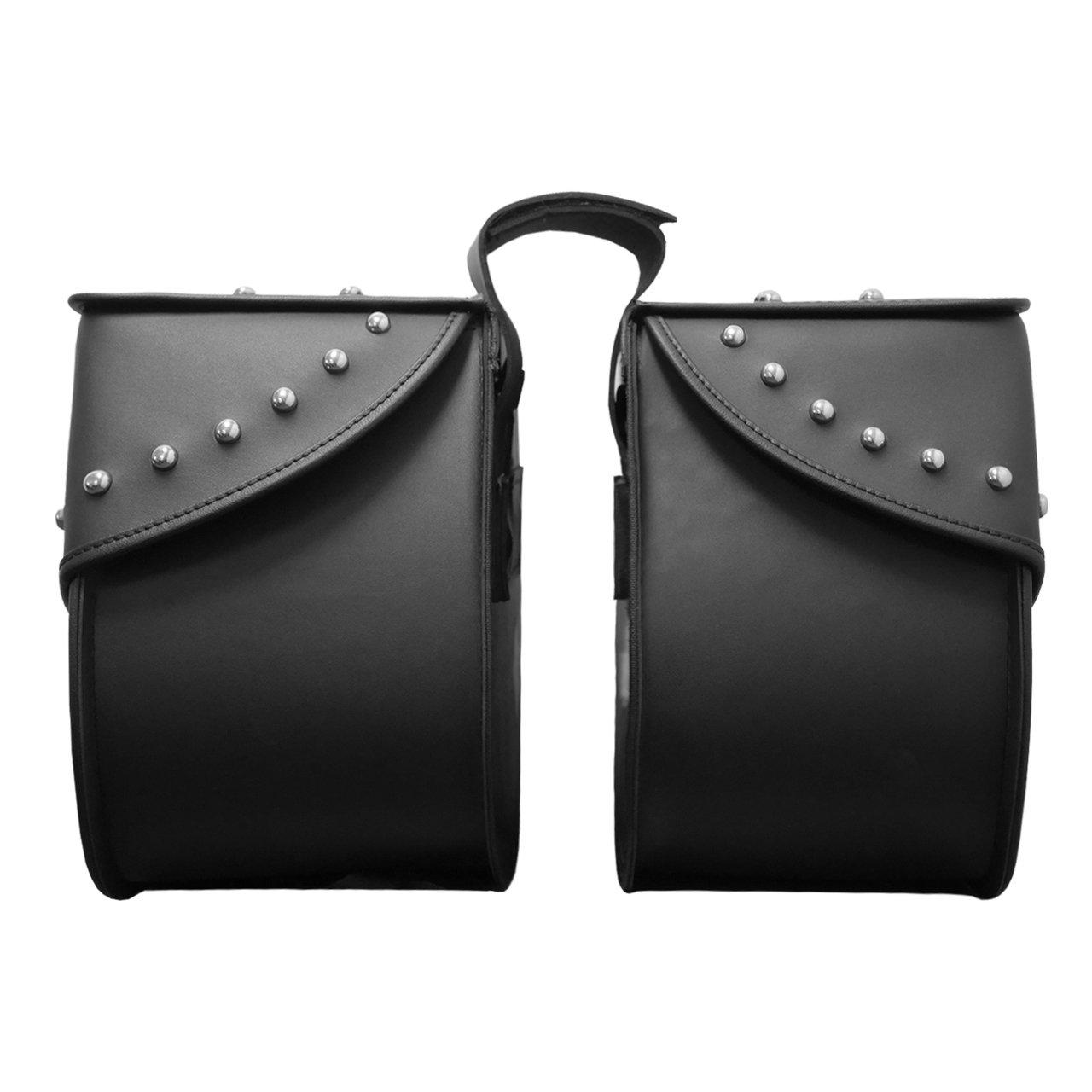 Plain Nomad USA Extra-Large Leather Throw-Over Motorcycle Saddlebags
