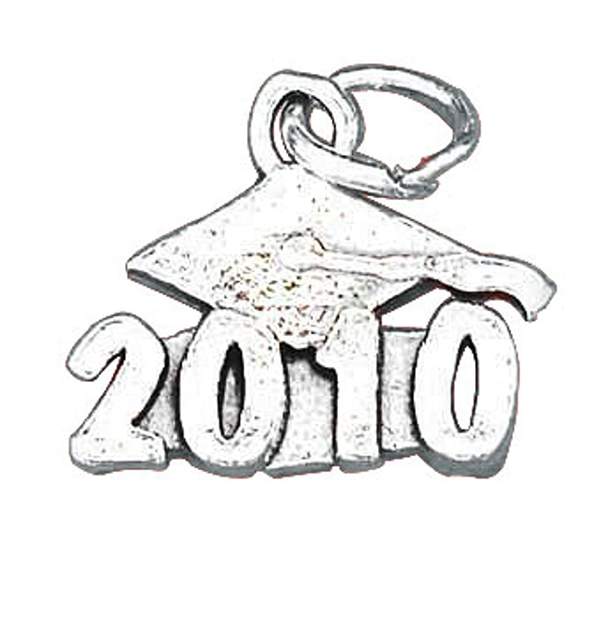 Sterling Silver Girls .8mm Box Chain Class Of 2010 Graduation Mortarboard Cap Pendant Necklace