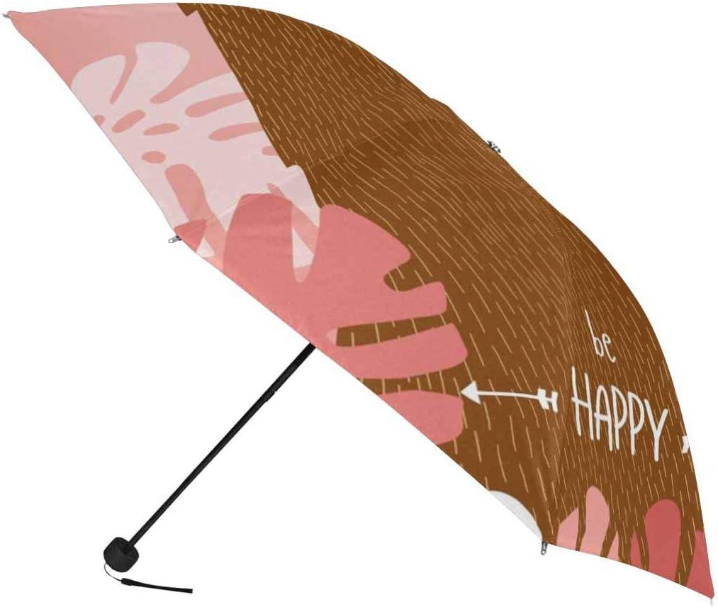InterestPrint Custom Geometric Pink Sloth Anti Sun UV Foldable Travel Compact Umbrella