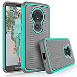 Tekcoo for Moto G6 Play Case/Motorola Moto G6 Forge Cute Case, [Tmajor] Shock Absorbing [Turquoise] Hybrid Rubber Silicone & Plastic Scratch Resistant Bumper Grip Rugged Sturdy Hard Cases Cover