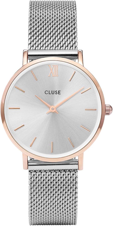 Cluse Reloj Analógico Unisex con Correa de Chapado En Acero Inoxidable – CL30025