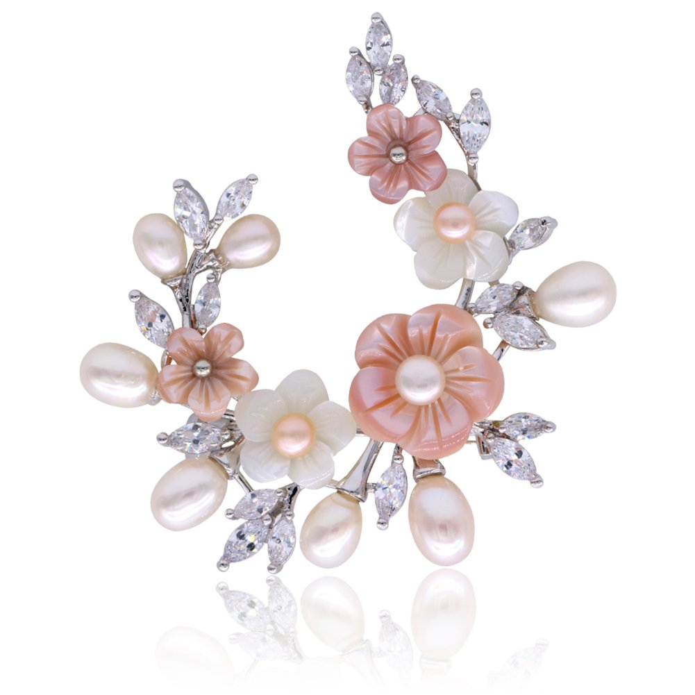 SHANLIHUA Flower Brooch Pins for Womens Ladies Shell Pearl Safety pin Accessories White Gold