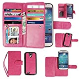 Case for Samsung Galaxy S4, xhorizon Premium Leather Folio Case [Wallet Function] [Magnetic Detachable] Fashion Wristlet Lanyard Hand Strap Purse Soft Flip Book Style Multiple Card Slots Cash Compartment Pocket with Magnetic Closure Case Cover Skin ZA5 for Samsung Galaxy S4 (I9500) - Rose Red