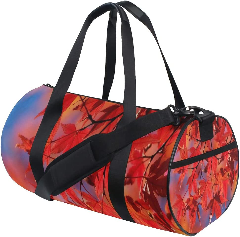 Foldable Duffle Bag Beautiful Autumn Leaves Red Lightweight Travel Sports Gym Bags Overnight for Women Men