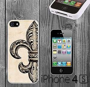 Vintage Fleur De Lis Custom made Case/Cover/skin FOR iPhone 4/4s - White - Rubber Case