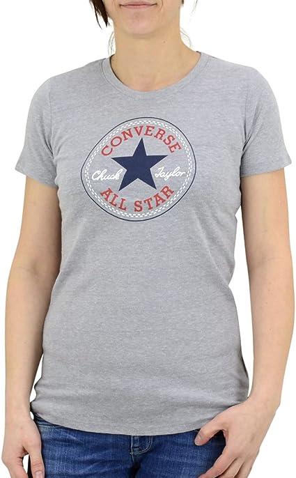 Converse T Shirt pour Femme Core 2 Color HTHR CP Crew Gris