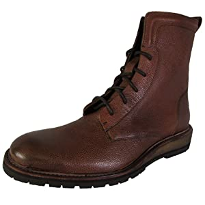 Kenneth Cole New York Mens Pass-Word Lace Up Combat Boot Shoes, Cognac, US 12