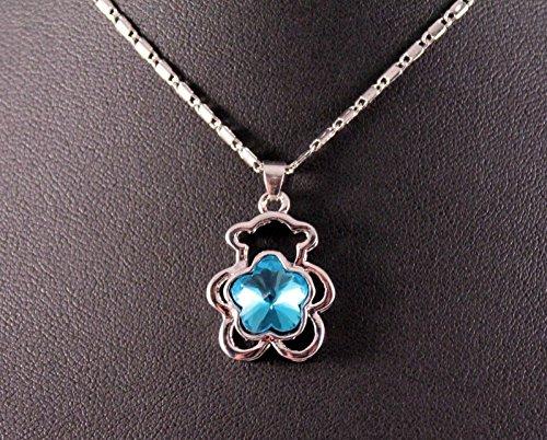 Silver Blue Gemstone Bear Pendant Necklace w/Free Jewelry Box (Pendant Bear Gemstone)