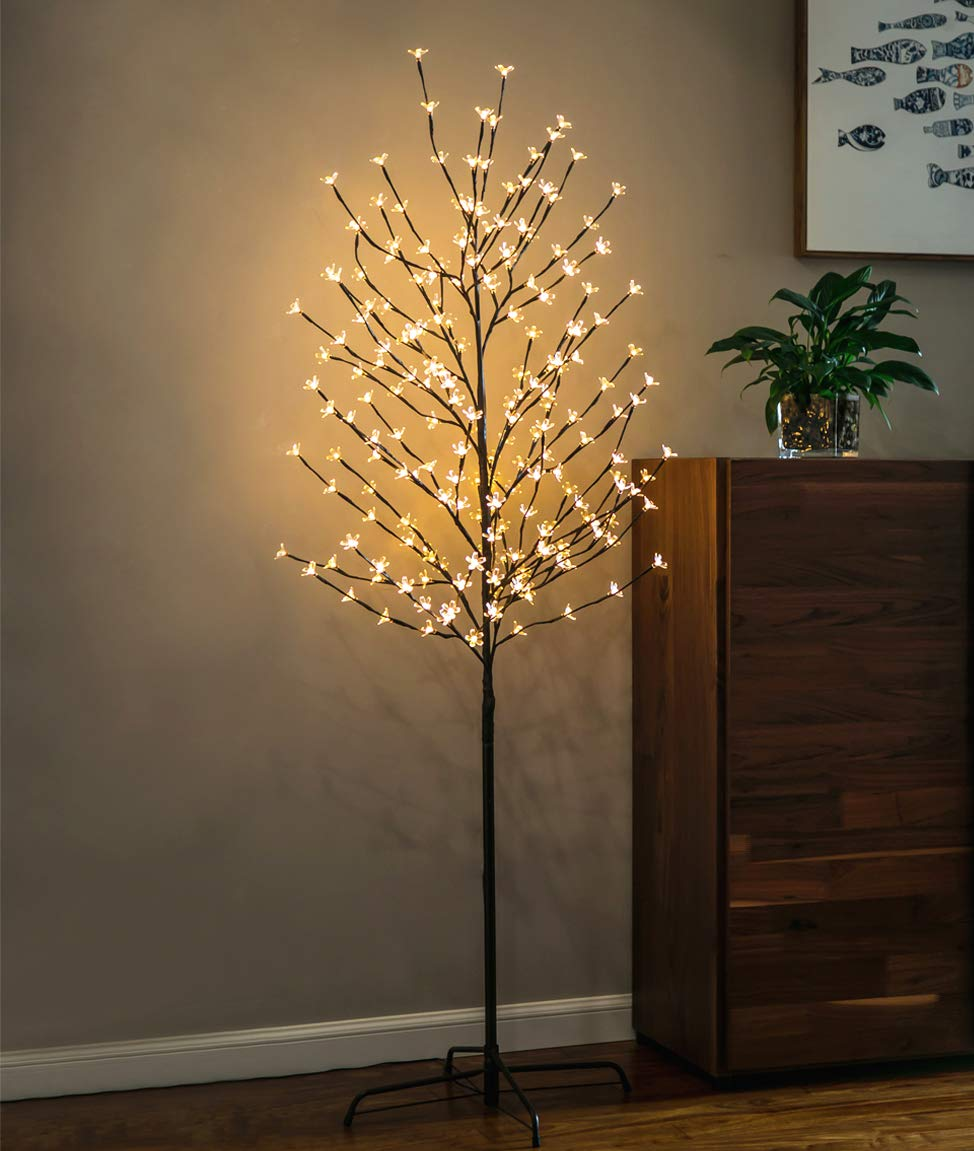 Twinkle Star 6 Feet 208 LED Cherry Blossom Tree Light Perfect for Home Festival Party Wedding Indoor Outdoor Decoration,Warm White