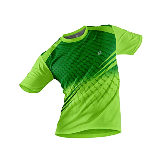 JJ TEES Polyester Half Sleeve Jersey with Round Collar and Digital Print All Over for Men (Color: Neon Green and Light Green)