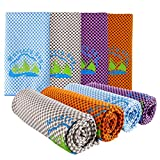 Mastery Sky Cooling Towels 4 Pack Instant Chilling Microfiber Stay max Cool for Neck- Ultra Soft- Keep colding for Golf-Gym- Tennis-Yoga- Baseball-Camping Fitness -Running-Hiking-Travel- Jogging