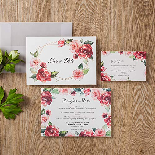 (JOFANZA 100x Rose Floral Design Invitations Cards with RSVP Cards and Save and Date Card Sulfuric Paper Envelope for Engagement Bridal Shower Quincenera Birthday Party (Set of)