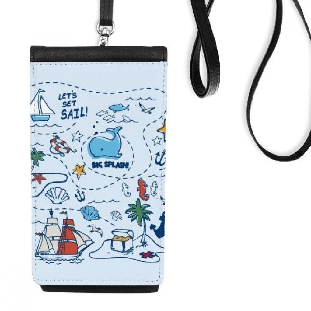 Sail Splash Travel Faux Leather Smartphone Hanging Purse Black Phone Wallet Gift