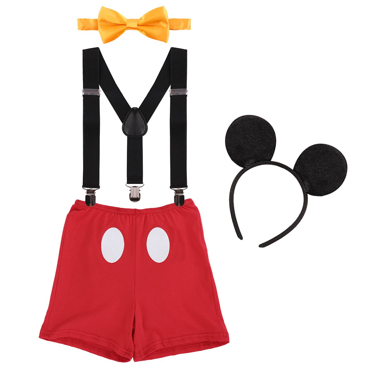 Cake Smash Outfit Baby Boys 1st/2nd/3rd Birthday Party Costume Newborn Infant Toddler Bloomers Shorts Pants + Adjustable Y Back Suspenders Braces + Bow Tie + Mouse Ears Headband Kids Photo Shoot