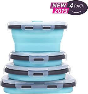 Collapsible Silicone Food Storage Containers with Airtight Lids, Set of 4 Stacking Container for Kids,Microwave and Freezer and Dishwasher Safe, with Vent Valve, BPA Free (2 Small and 2 Medium)