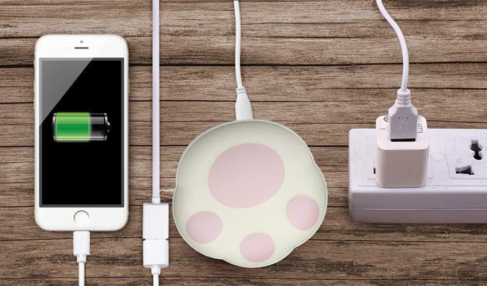 RioRand Scaldamani riutilizzabili USB Power Bank Batteria Portatile 5000 mAh 2 in 1 con Sacchetto di Velluto Migliore Regalo per Donne, Bambini (Rosa)