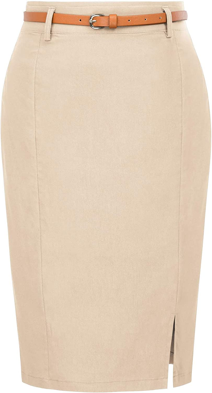 Kate Kasin Women's Bodycon Pencil Skirt with Blet Solid Color Hip-Wrapped