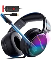 XIBERIA-V20 USB PS4 Headset, 7.1 Surround Sound PC Gaming Headset with 1.95 Meter Cable and Noise Cancelling Mic Headphones-Memory Foam Ear Pads for Laptops, Computer, Mac and Macbook with RGB Light