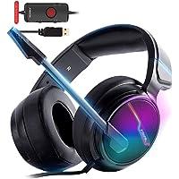XIBERIA-V20 USB PS4-headset för värdanslutning, 7.1 surroundljud PC-spelheadset med 1,95 meter kabel och brusreducerande…