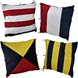 Cotton Throw Pillows Mg-063 Set Of 4 Nautical Signal Flag Decorative Throw Pillows 15 In. 15 X 15 X 6 Inches Multicolored