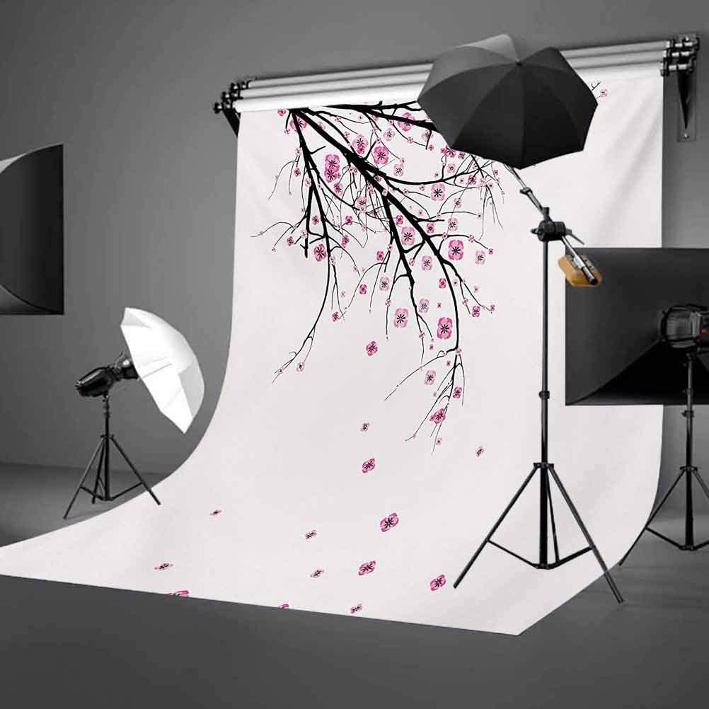 Nature 6.5x10 FT Photo Backdrops,Cherry Blossoming Falling Petals Flowers Springtime Park Simple Illustration Print Background for Photography Kids Adult Photo Booth Video Shoot Vinyl Studio Props