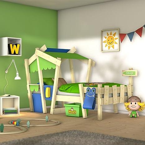 WICKEY Cuna CrAzY Candy Cama para niños Cama infantil 90x200cm con somier de madera, azul