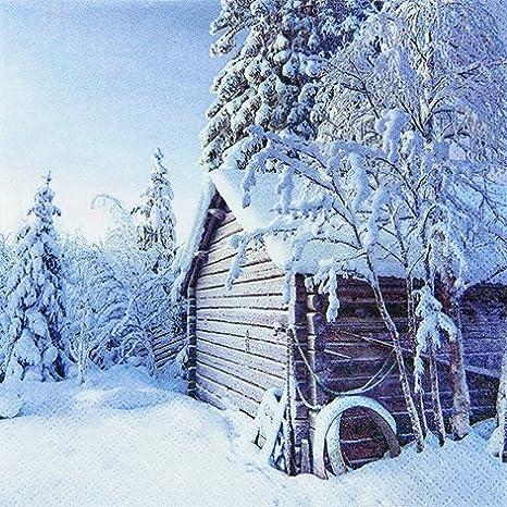 20 Servietten Winter Cabin Winterhütte Weihnachten Winter Haus Schnee 33x33cm Küche Haushalt