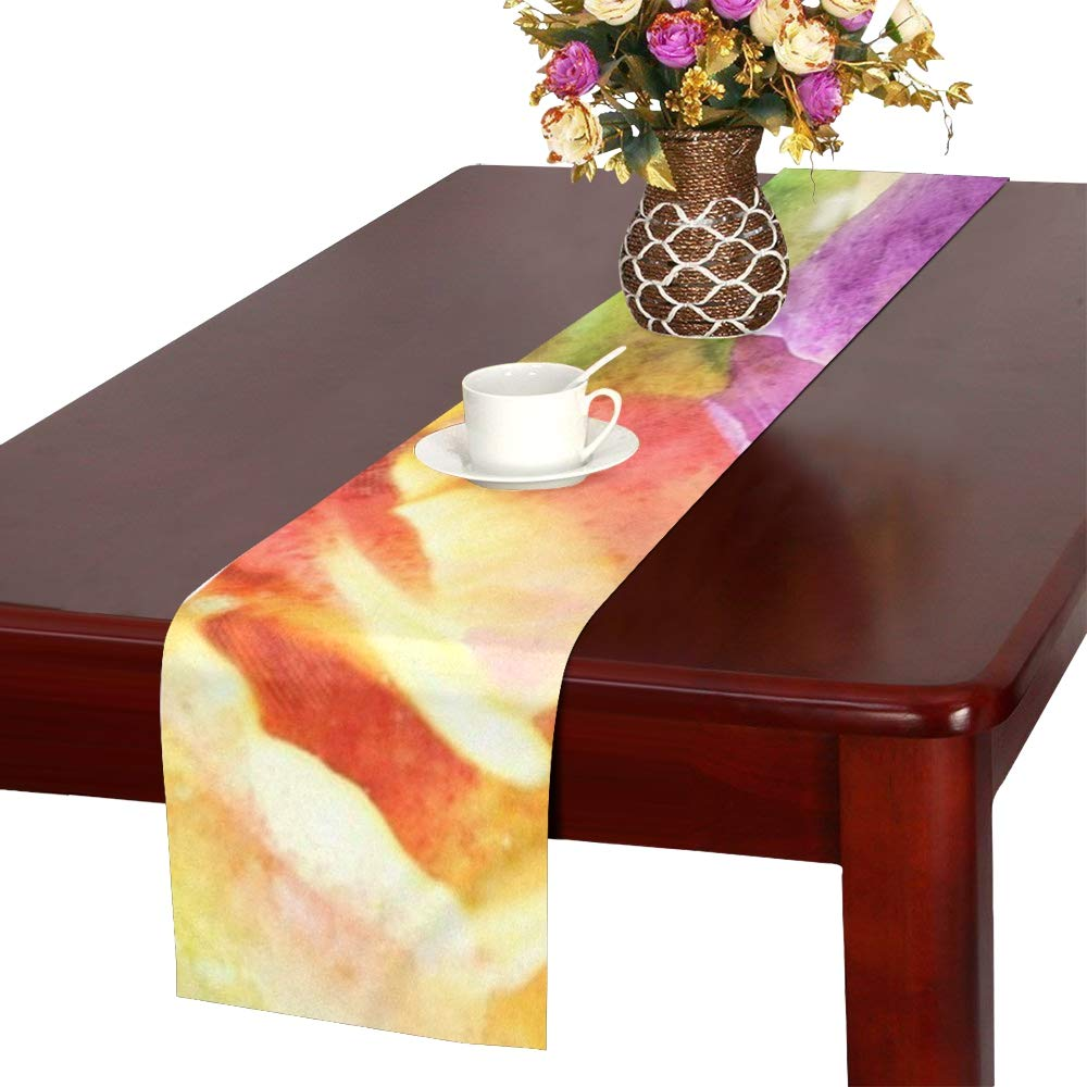 Flower Desktop Summer Color Nature Pastel Bright Table Runner, Kitchen Dining Table Runner 16 X 72 Inch For Dinner Parties, Events, Decor