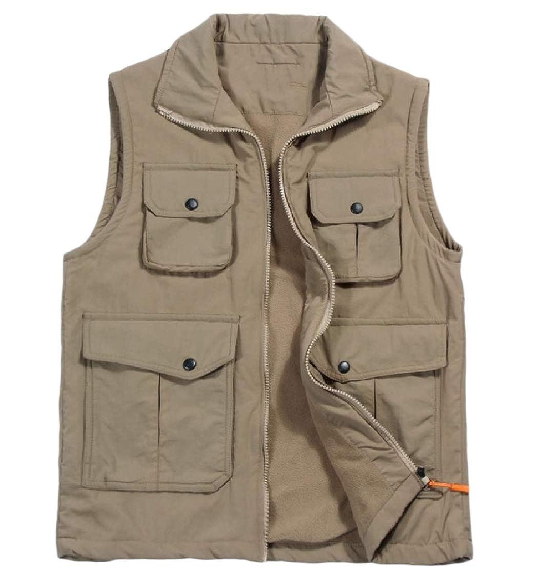 1b922cbc976 Khaki TaoNice Mens Photography Pockets Thick Vest Fleece Parka Jacket  Jacket Jacket Coat Outwear cd6b1d