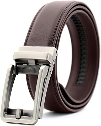 LVLUOYE Men Belt Ratcheting Leather Business Leather For Buckle Automatic Wider