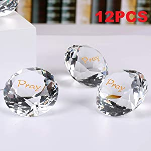 ROCKIMPACT 12PCS Pray Large Engraved Crystal Diamond Jewel Home Décor, Bulk Wholesale Wedding Table Decoration, Paperweight with Encouraging & Inspirational Sayings (Pack of 12, Pray, Crystal Clear)