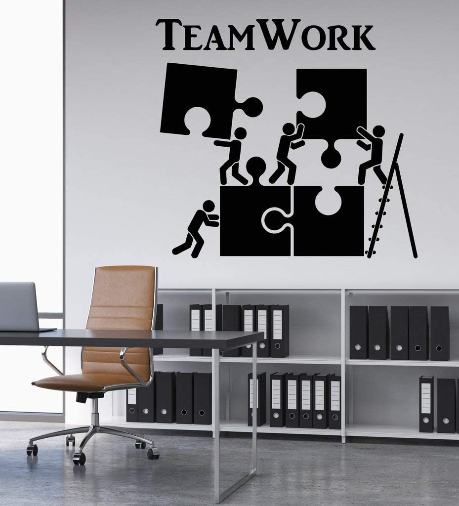 Melissalove Vinyl Wall Decal Teamwork Motivation Decor for Office Worker Puzzle Wall Stickers Modern Interior Art Wall Decoration Hot LC520 (Black)