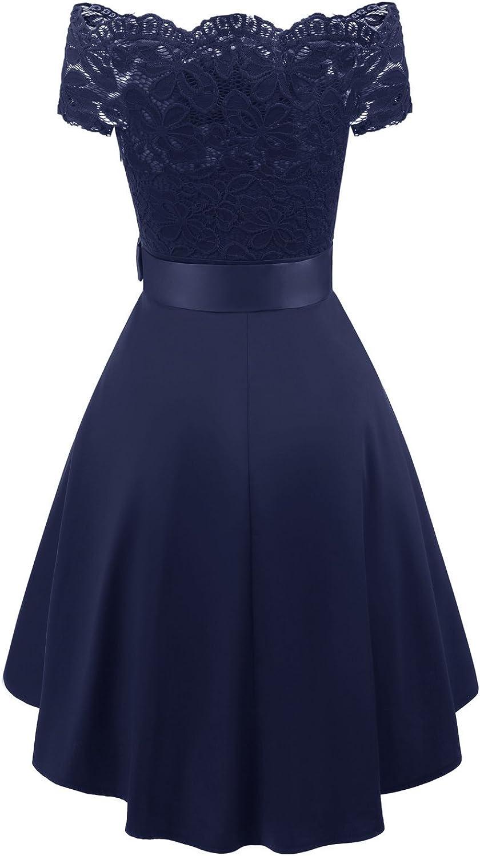 Laorchid Vintage Damen Kleid Spitzenkleid Off Schulter Cocktail Knielang A-Linie