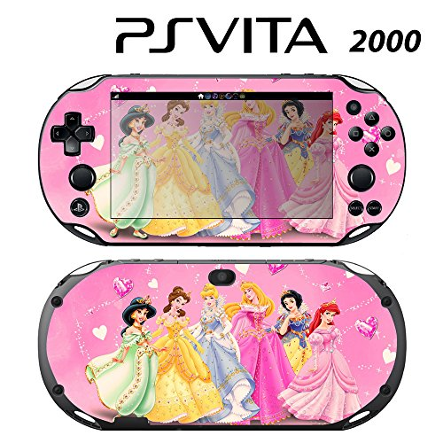 Decorative Video Game Skin Decal Cover Sticker for Sony PlayStation PS Vita Slim (PCH-2000) - Princess Friends Pink Jasmine Cinderalla Snow White (Princess Snow Playstation)