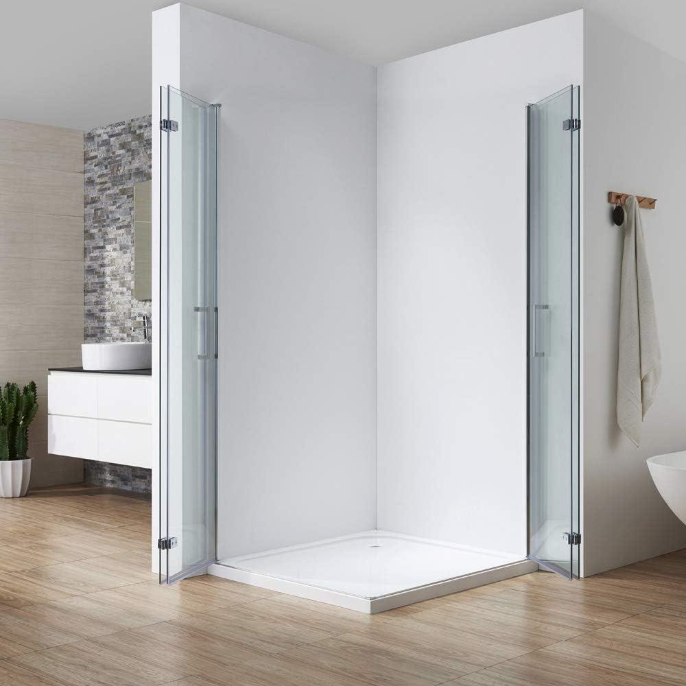 Cabina de ducha plegable de 90 x 75, puerta plegable de 180°, apertura hacia dentro y fuera de 6 mm, cristal de seguridad Nano ESG, altura 195 cm: Amazon.es: Bricolaje y herramientas