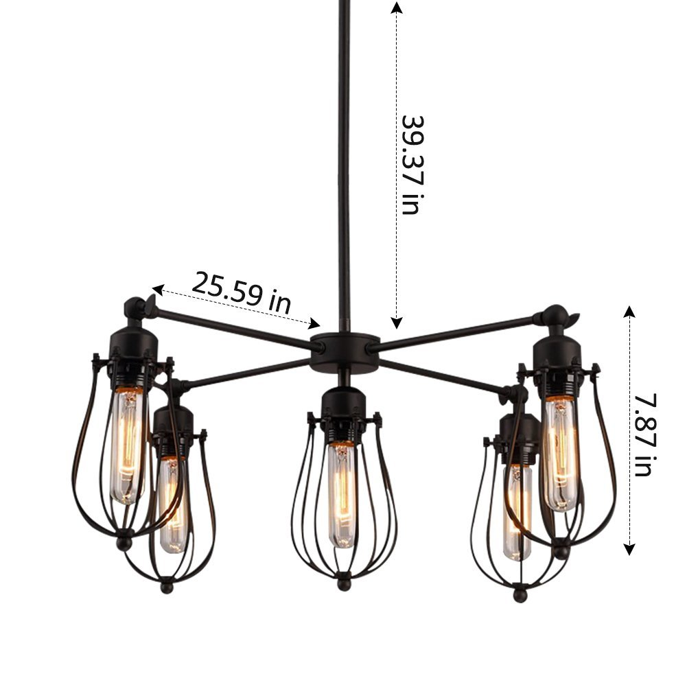 Industrial cage chandelier 5 lights vintage pendant light metal edison hanging ceiling light fixtures adjustable and rotatable loft style for Kitchen Island Dining Table Bedroom Hallway