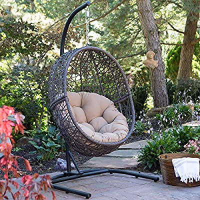Resin Wicker Espresso Hanging Egg Chair with Tufted Khaki Cushion and Stand -  - patio-furniture, patio-chairs, patio - 61bnbQV5%2BfL. SS400  -