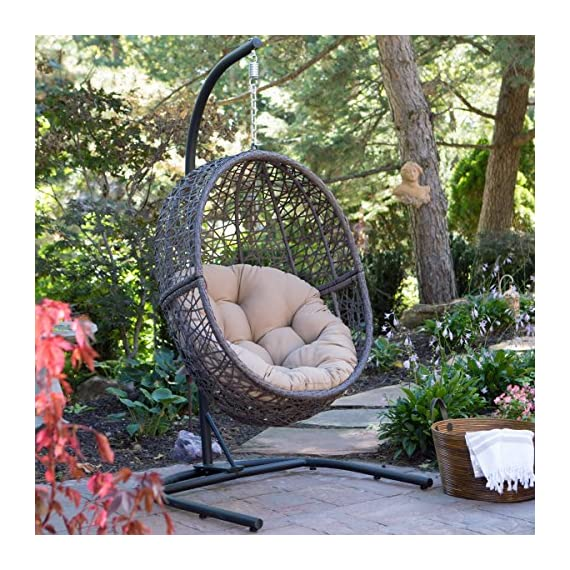 Resin Wicker Espresso Hanging Egg Chair with Tufted Khaki Cushion and Stand -  - patio-furniture, patio-chairs, patio - 61bnbQV5%2BfL. SS570  -