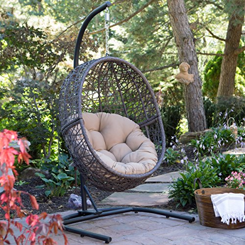 Resin Wicker Espresso Hanging Egg Chair with Tufted Khaki Cushion and Stand (Outdoor Wicker Egg Chair)
