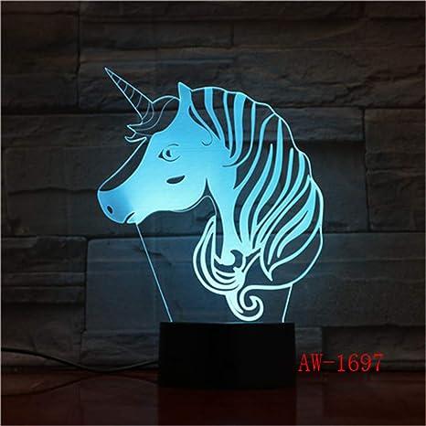 Nndxh Unicorn Light 7 Color 3D Night Light Led Touch Usb Base Bebé ...