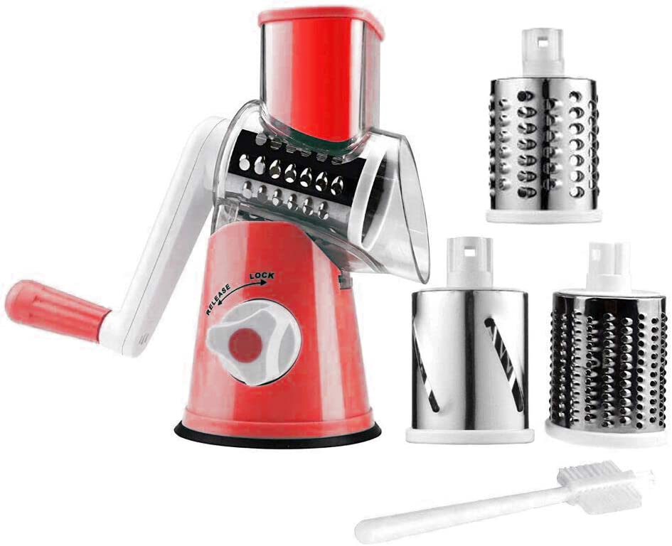 Manual Rotary Cheese Slicer Parmesan Cheese Grater for Food Vegetable Potato Carrot Nuts Grind with Cleaning Brush(red)