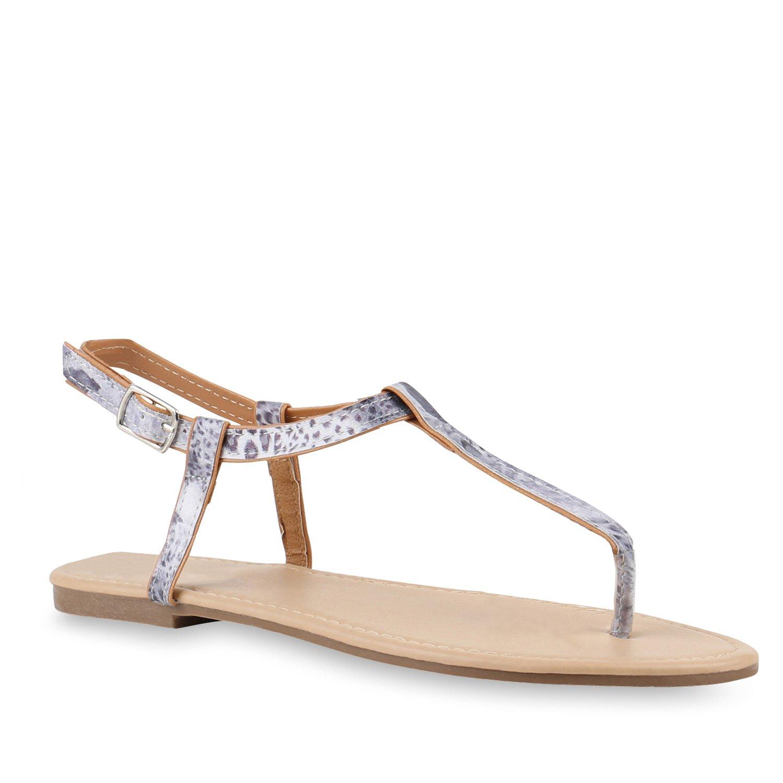 Stiefelparadies Damen Sandalen Zehentrenner mit Blockabsatz Flandell  36 EU|Blau Leopard