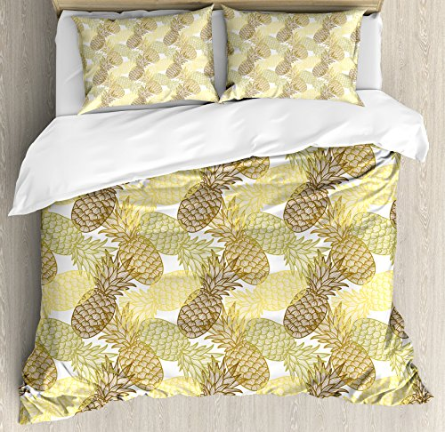 Ambesonne Pineapple Duvet Cover Set King Size, Summer Themed Overlapping Curving Tropical Pineapples with Lines Print, Decorative 3 Piece Bedding Set with 2 Pillow Shams, Gold Bronze White - Curving Lines