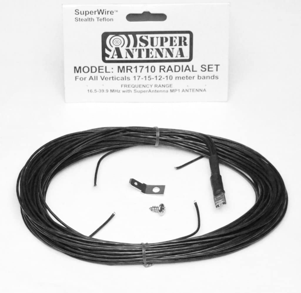 Super Antenna MR1710 SuperWire Radial Set for HF Vertical Antennas 17m 15m 12m 11m 10m Bands ham Radio MP1 Ground Plane