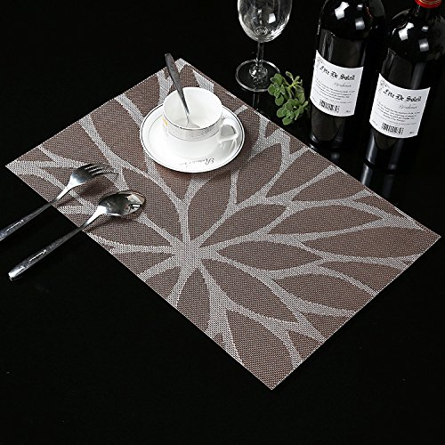 Large Product Image of HEBE Placemats for Dining Table Set Of 6 Durable Woven Vinyl Kitchen Table Mats Washable Heat Resistant Stain-resistant Non Slip Placemat Easy to Clean(6, Brown)