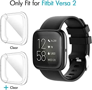 iCoold [2 Pack] Screen Protector Case Design for Fitbit Versa 2,Ultra Slim Soft TPU Full Cover Case All-Around Protective Plated Bumper Shell[Scratch-Proof] for Fitbit Versa 2 (Clear)